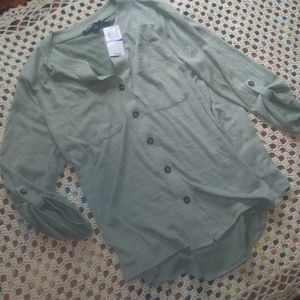 (new) roll-tab button-up blouse (cable&gauge) XL